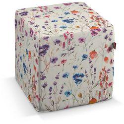 Dekoria Pufa kostka, kolorowe kwiaty na kremowym tle, 40 × 40 × 40 cm, Flowers