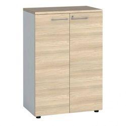 Szafa biurowa z drzwiami, 1087 x 800 x 420 mm, biały/dąb naturalny