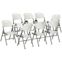 Zestaw cateringowy, stół 240 cm z 8 krzesłami składany na bankiet, zestaw turystyczny biały
