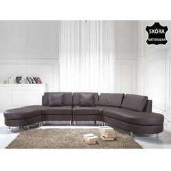 Luksusowa sofa kanapa brązowa skórzana COPENHAGEN