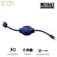 Puro  icon retractable cable - zwijany kabel micro usb (dark blue) - niebieski ciemny