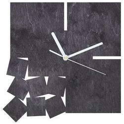 Drewniany zegar na ścianę Kwadratowy z białymi wskazówkami (5907509934322)