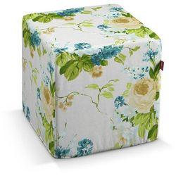 pufa kostka twarda, niebieskie kwiaty na białym tle, 40x40x40 cm, mirella marki Dekoria