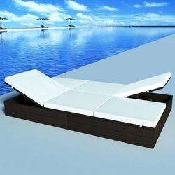 vidaXL Dwuosobowy leżak z poduszką 194x120 cm, polirattan, brązowy