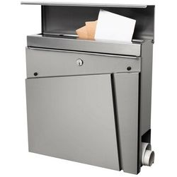 Skrzynka na listy pocztowa 37x37x10,5cm nowoczesna z gazetnikiem panelowa stal nierdzewna (5907719403861)