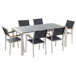 Stół granitowy szary polerowany 180 cm z 6 czarnymi krzesłami - GROSSETO (7081453283687)