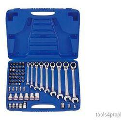 Zestaw kluczy płasko-oczkowych z grzechotką dwukierunkową, nasadek i bitów 62cz. 8 - 19mm z akcesoriami 91