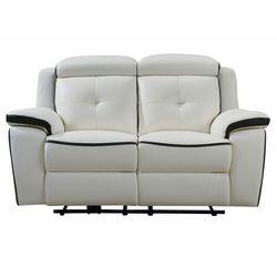 Sofa 2- osobowa ANGELIQUE ze skóry, z elektryczną funkcją relaksu – kolor biały i antracytowy, kolor biały