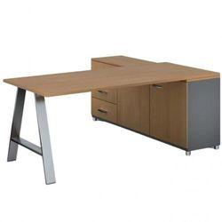 Biurowy stół roboczy alfa a z szafką po lewej, blat 1800 x 800 mm, buk marki B2b partner