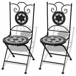 Zestaw ceramicznych krzeseł ogrodowych leah - czarno-biały marki Elior