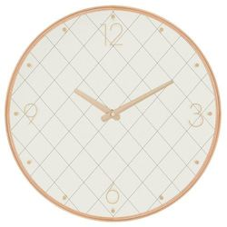 Zegar na ścianę w drewnianej ramce, zegar do salonu, zegar kuchenny, zegar ścienny - Ø 40 cm, kolor biały