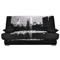 Bultex Kanapa z tkaniny tulsa z prostym mechanizmem rozkładania materac - nadruk metropolis