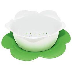 Zak! Designs - Durszlak z podstawką - biało-zielony - duży