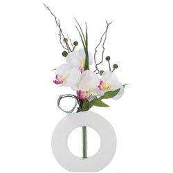Sztuczna orchidea, w oryginalnej doniczce, sztuczne kwiaty, uniwersalna dekoracja, ozdoba, biało-różowe kwiaty, biała doniczka, marki Atmosphera créateur d'intérieur