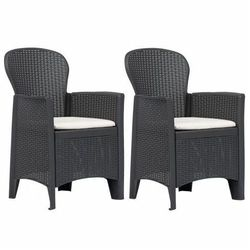 Fotele ogrodowe z poduszkami Campos 2 szt - brązowe, vidaxl_45600