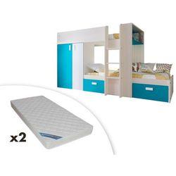 Łóżko piętrowe JULIEN – 2 × 90 × 190 cm – szafa – kolor biały i niebieski + 2 materace ZEUS 90x190