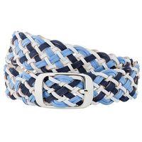 Bonprix Pasek pleciony, szeroki  indygo-niebieski pudrowy - biel wełny