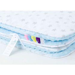 Mamo-tato komplet kocyk minky do wózka + poduszka gwiazdki bąbelkowe szare / błękit