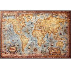 Świat mapa ścienna stylizowana w drewnianej ramie