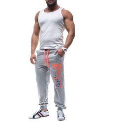 Szaro-pomarańczowe spodnie dresowe męskie Denley 7327 - SZARO-POMARAŃCZOWY