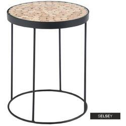 stolik kawowy isleen o średnicy 47 cm okrągła podstawa modrzew marki Selsey