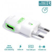 Puro  mini travel fast charger - ładowarka sieciowa usb 2.4a (biały) (8033830142642)