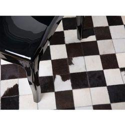 Beliani Dywan skórzany czarno-biały ø 140 cm - bergama (7081453531634)