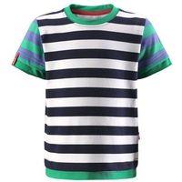 Reima T-shirt koszulka  z krótkim rękawem kirppu granatowo/biało/zielono/niebieskie paski
