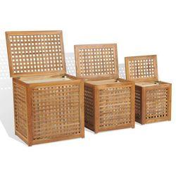 vidaXL Zestaw koszy na pranie, 3 elementy, drewno tekowe (8718475568261)
