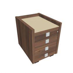 Mobilny kontener Assist - 4-szufladowy, przeszklony, orzech