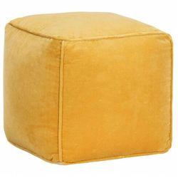 Żółta pufa welurowa tapicerowana - Bazali 3X