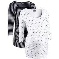 Shirt ciążowy biznesowy (2 szt.), bawełna organiczna  biały w groszki + w paski, Bonprix, 32-54