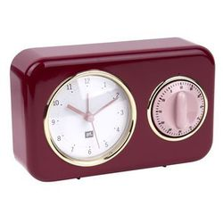 Budzik, zegar stojący nostalgia red z timerem kuchennym by marki Pt,