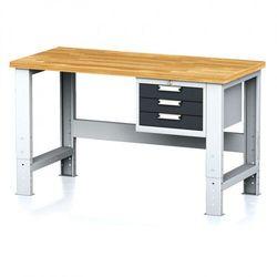 Stół warsztatowy mechanic, 1500x700x700-1055 mm, nogi regulowane, 1x szufladowy kontener, 3 szuflady, antracyt marki B2b partner