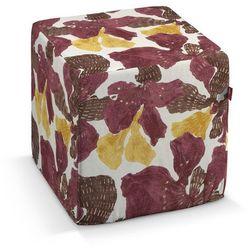 Dekoria  pufa kostka twarda, żółto-brązowe kwiaty, 40x40x40 cm, wyprzedaż do -30%