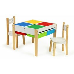 Drewniane meble dla dzieci, zestaw, stół, 2 krzesła