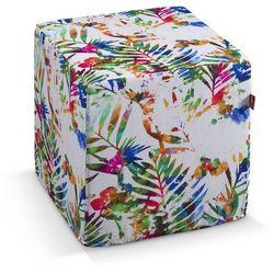 Dekoria Pufa kostka twarda, kolorowe liście na białym tle, 40x40x40 cm, New Art, kolor biały