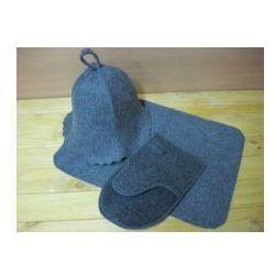 Zestaw sauniarza szary - czapka rękawica ręczniczek marki Produkcja własna