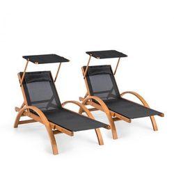 Blumfeldt panama leżak ogrodowy zestaw 2 sztuk comfortmesh obciążenie 150 kg, czarny (4060656193576)