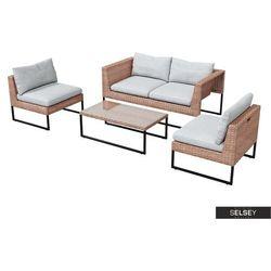 zestaw ogrodowy darkone sofa z dwoma fotelami i stolik marki Selsey