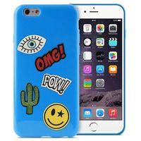 Etui PURO Patch Mania do iPhone 6/6s w zestawie 5 naklejek Niebieski (8033830184345)