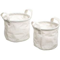 Atmosphera créateur d'intérieur Zestaw dwóch białych koszy na drobne przedmioty, wykonane z bawełny i polietylenu, uchwyty, wymiary 19x19x16 oraz 16x16x14 cm