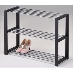 Półka na buty, 3 piętra, czarna marki 4home