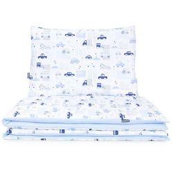 2-el dwustronna pościel dla niemowląt 100x135 autka niebieskie / koordynat błękit marki Mamo-tato