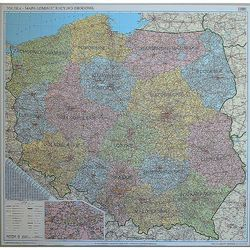 Polska mapa ścienna administracyjno-drogowa 1:500 000 na podkładzie korkowym - produkt z kategorii- mapy