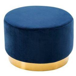 Welurowy puf CLORIA - kolor granatowy, kolor niebieski