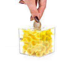 Mini skarbonka labirynt - żółta - żółty