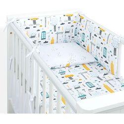 MAMO-TATO 3-el dwustronna pościel dla niemowląt LUX do łóżeczka 60x120 Miasto / pieguski czarne
