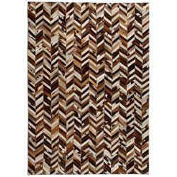Vidaxl Dywan ze skóry, patchwork jodełkę, 160x230 cm, brązowo-biały