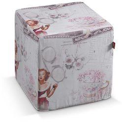 pufa kostka twarda, pastelowe róże i beże, 40x40x40 cm, freestyle marki Dekoria